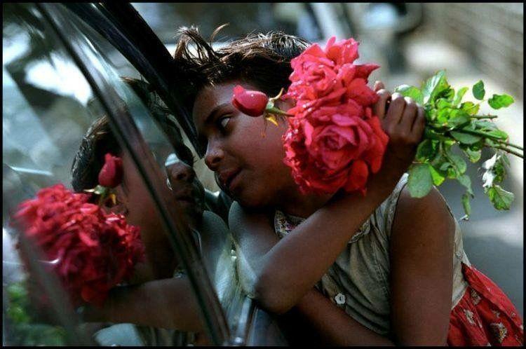 Girl selling flowers