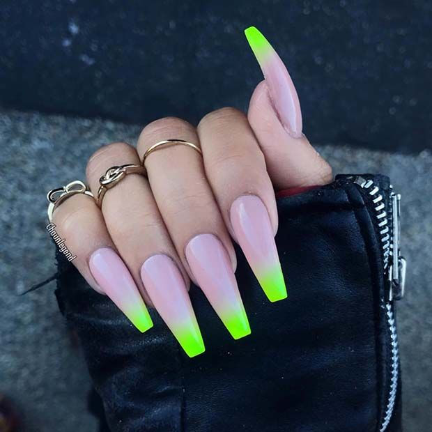 Long Coffin Nails With Neon Tips Neon Acrylic Nails Ombre Acrylic Nails Coffin Nails Long