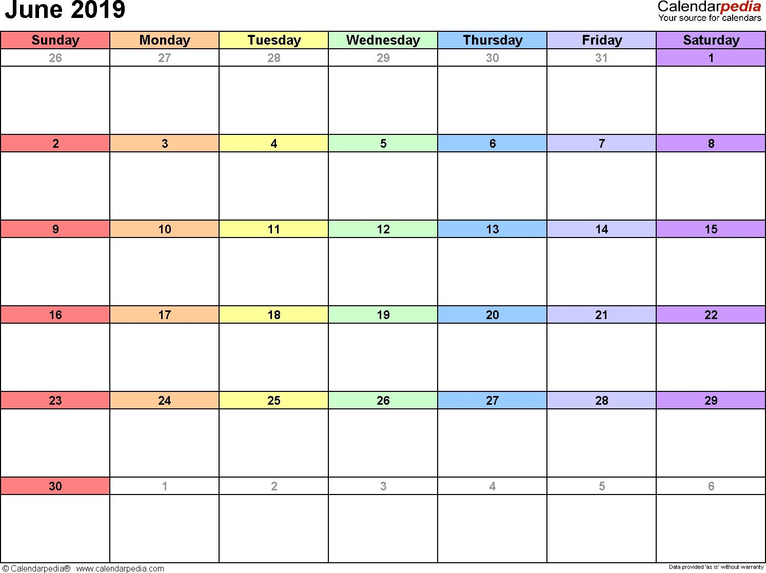 June Calendars For Word Excel Amp Dowload With