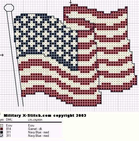 Free Needlepoint Patterns  Drawing    Usa Flag Flags