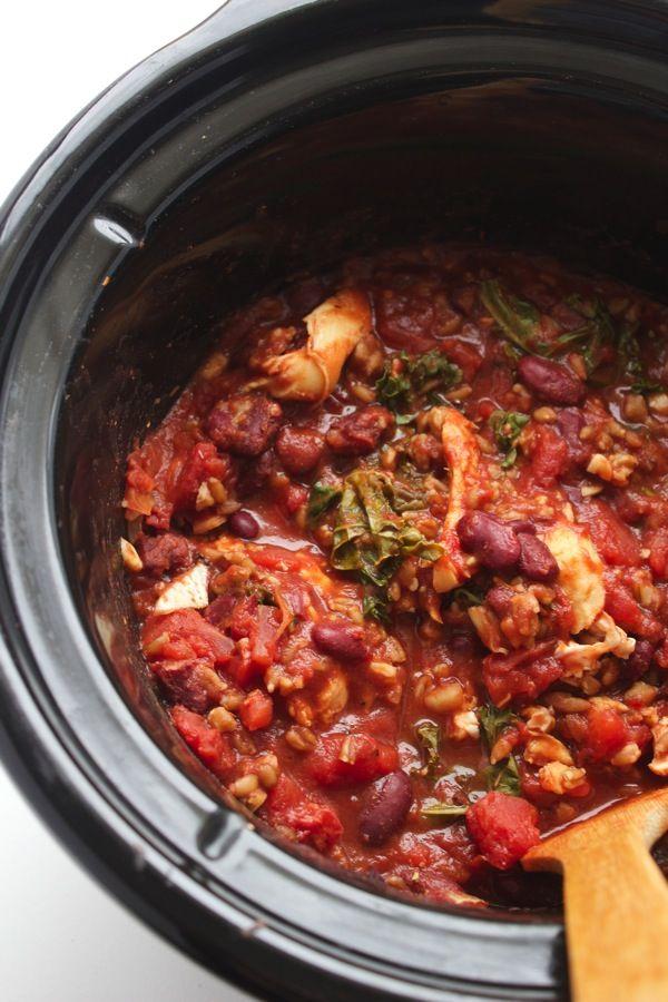Slow Cooker Farro And Chicken Chili Recipe Chicken Chili Kale