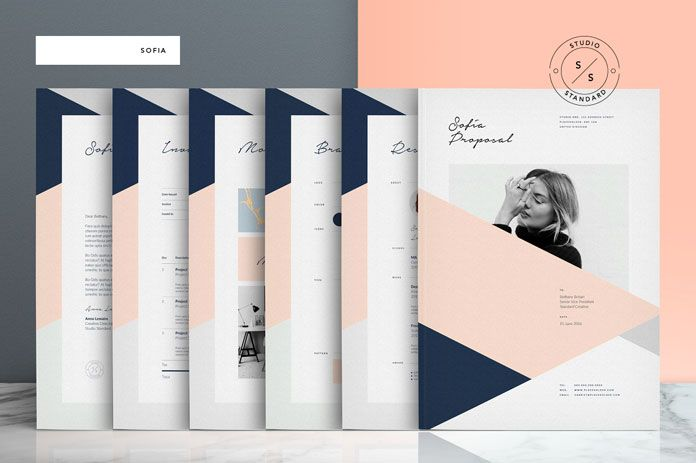 Sofia Pitch Pack Adobe InDesign Stationery And Brochure - Adobe indesign brochure templates