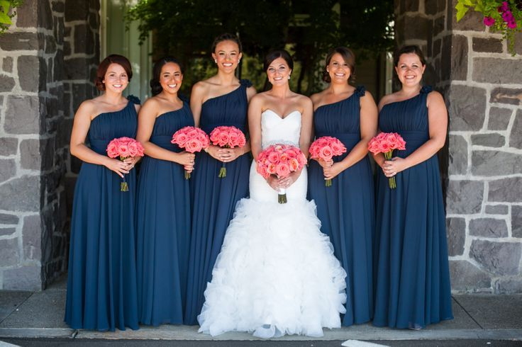 Navy Blue Bridesmaid Dresses With Coral Flowers 2014-2015
