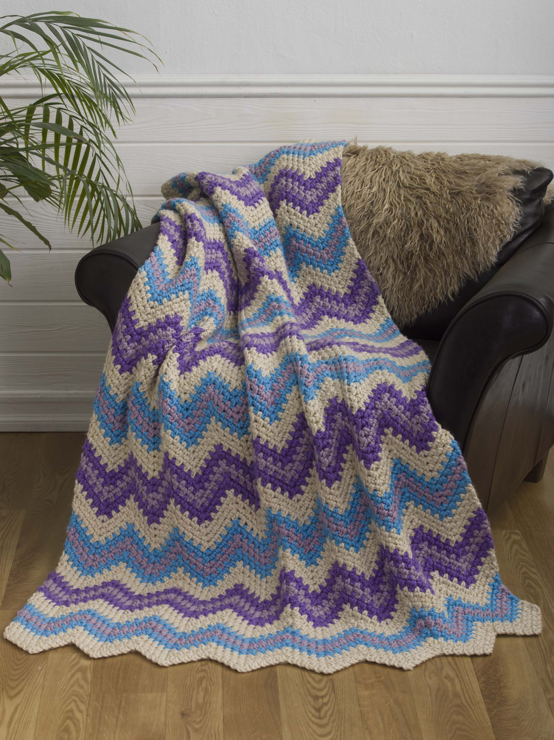 Super-Simple Chevron Throw Crochet 1-2-3 Issue #12 Designed by Margret Willson www.crochet1-2-3.com