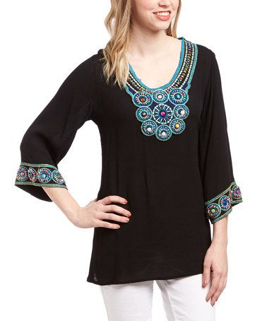Black & Turquoise Embroidered Scoop Neck Flare-Sleeve Tunic by Lady's World #zulily #zulilyfinds