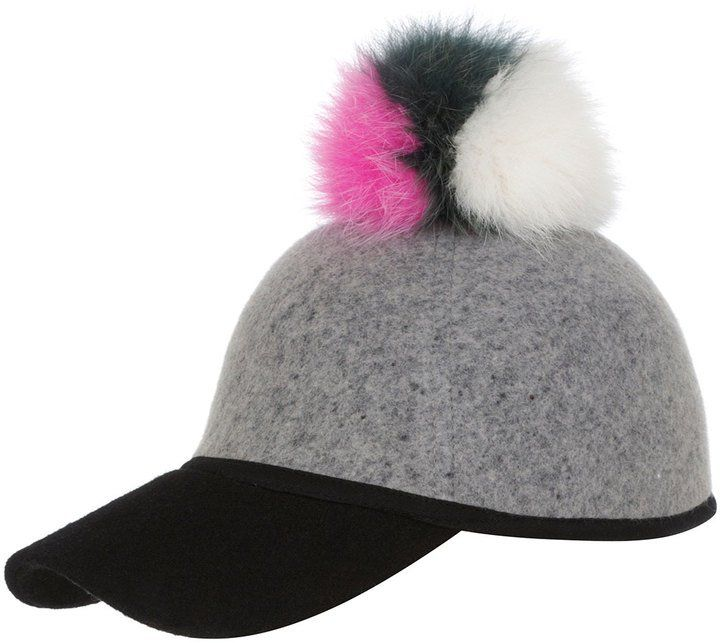 0b8e68b0357 Charlotte Simone Sass Baseball Cap w Tricolor Fur Pom-Pom ( 145) ❤ liked on  Polyvore featuring accessories
