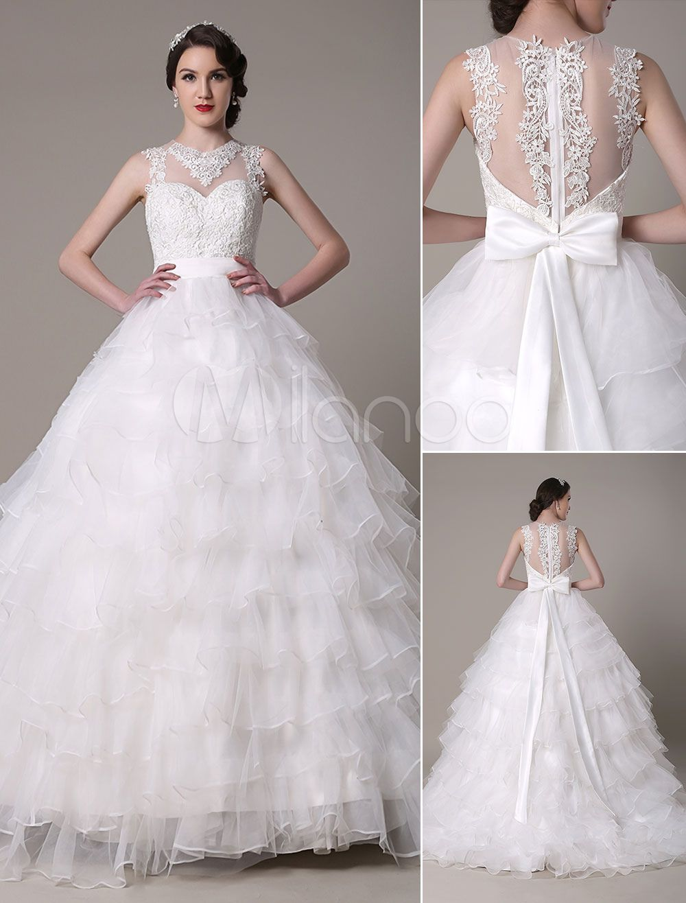 Ball Gown Wedding Dress Sweetheart Lace Applique Organza Tiered