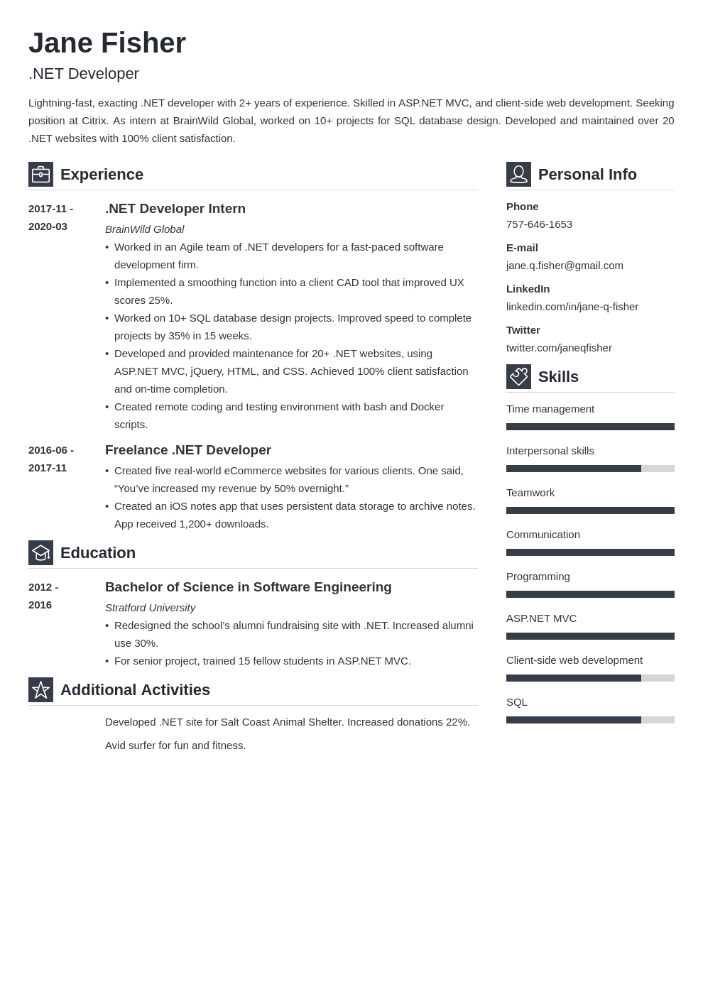 Net Developer Resume Example Template Vibes Accountant Resume Resume Examples Job Resume Examples