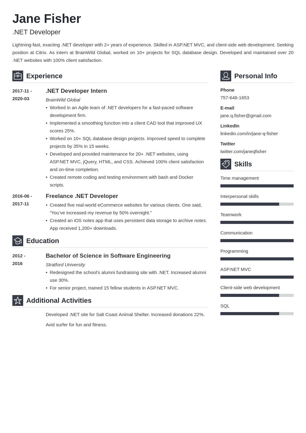 Net Developer Resume Example Template Vibes Resume Examples Accountant Resume Job Resume Examples