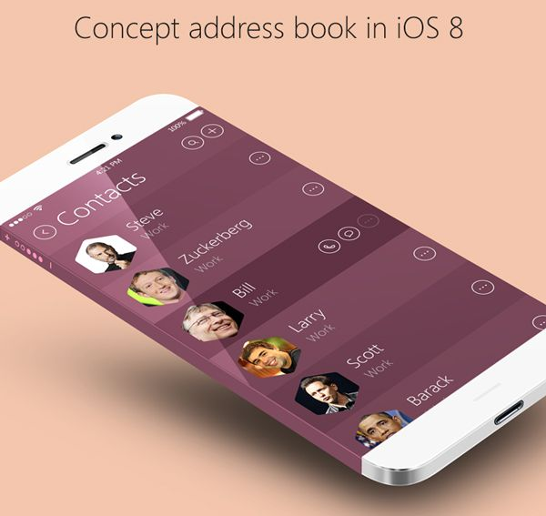 mobile app design inspiration concept address book in ios 8 - App Design Ideas