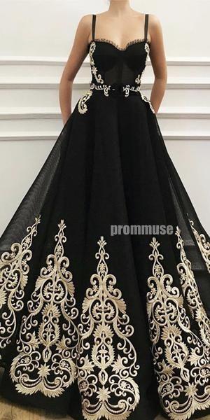 Black Unique Applique Sweetheart A Line Long Prom Dresses SPE153