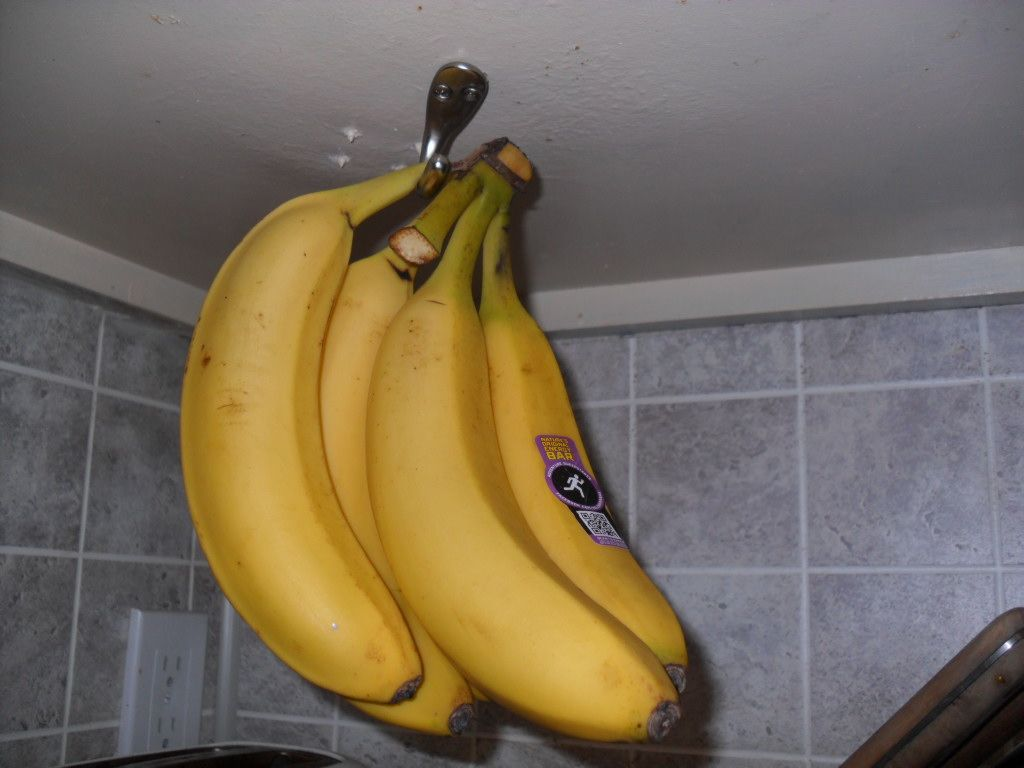 Clever Under Cabinet Banana Storage   Screw A Hook Into Underside Of Cabinet  And Hang Bananas