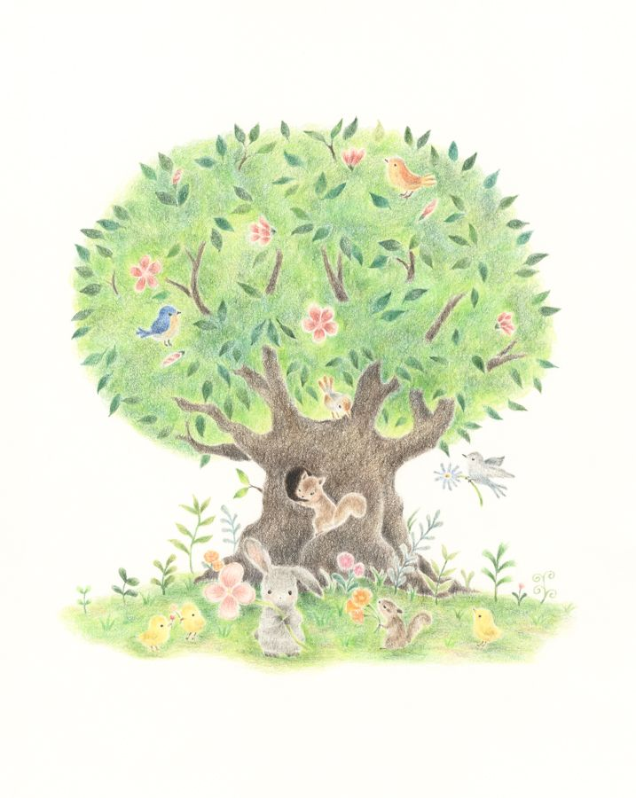 Animals Living In Big Tree Rili Picture Book Illustration