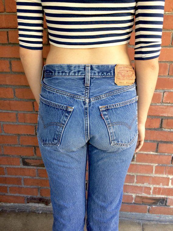 bb04bc93672 Vintage Levis 501XX shrink to fit high waist denim jeans. Button fly.  Original tag size 32 33. Actual measurements  Waist 29 Rise 11 Hips 40  Inseam