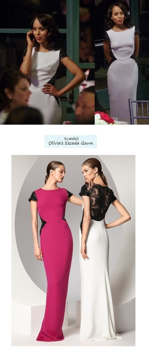 Scandal 215: Olivia Pope's (Kerry Washington) white Escada gown #tvfashion #outfits #fashion #style