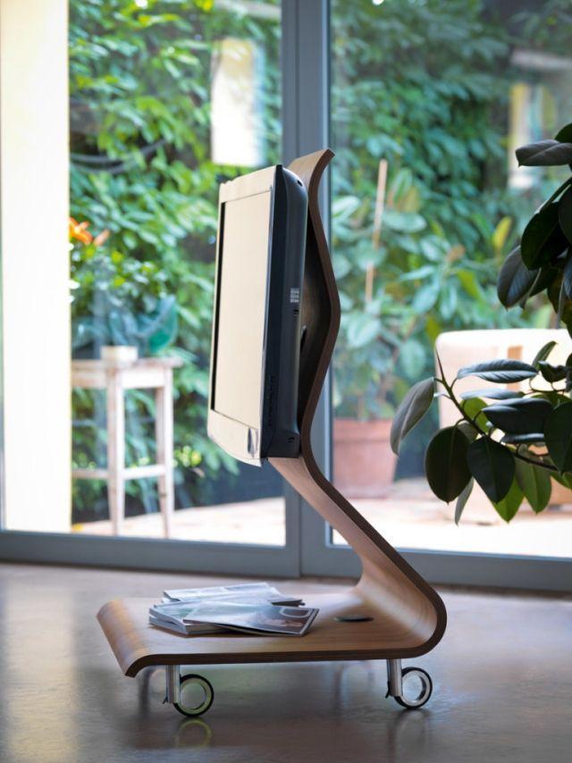 flachbildfernseher möbel design tv ständer-sperrholz-geformt TV