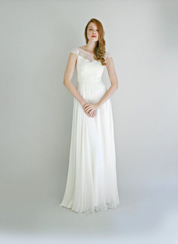 ADELIA Vestido de novia de seda y encaje por Leanimal en Etsy