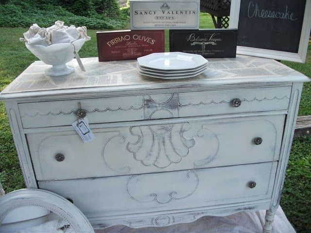 refinished dresser w/ book pages on top
