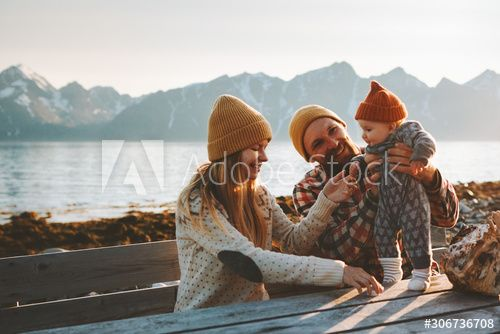 Happy family outdoor mother and father with baby traveling together vacation parents playing with child healthy lifestyle mountains view in Norway , #AD, #baby, #father, #vacation, #traveling, #family #Ad