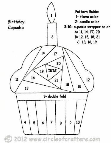 Cupcake pattern (free printable iris folding patterns by