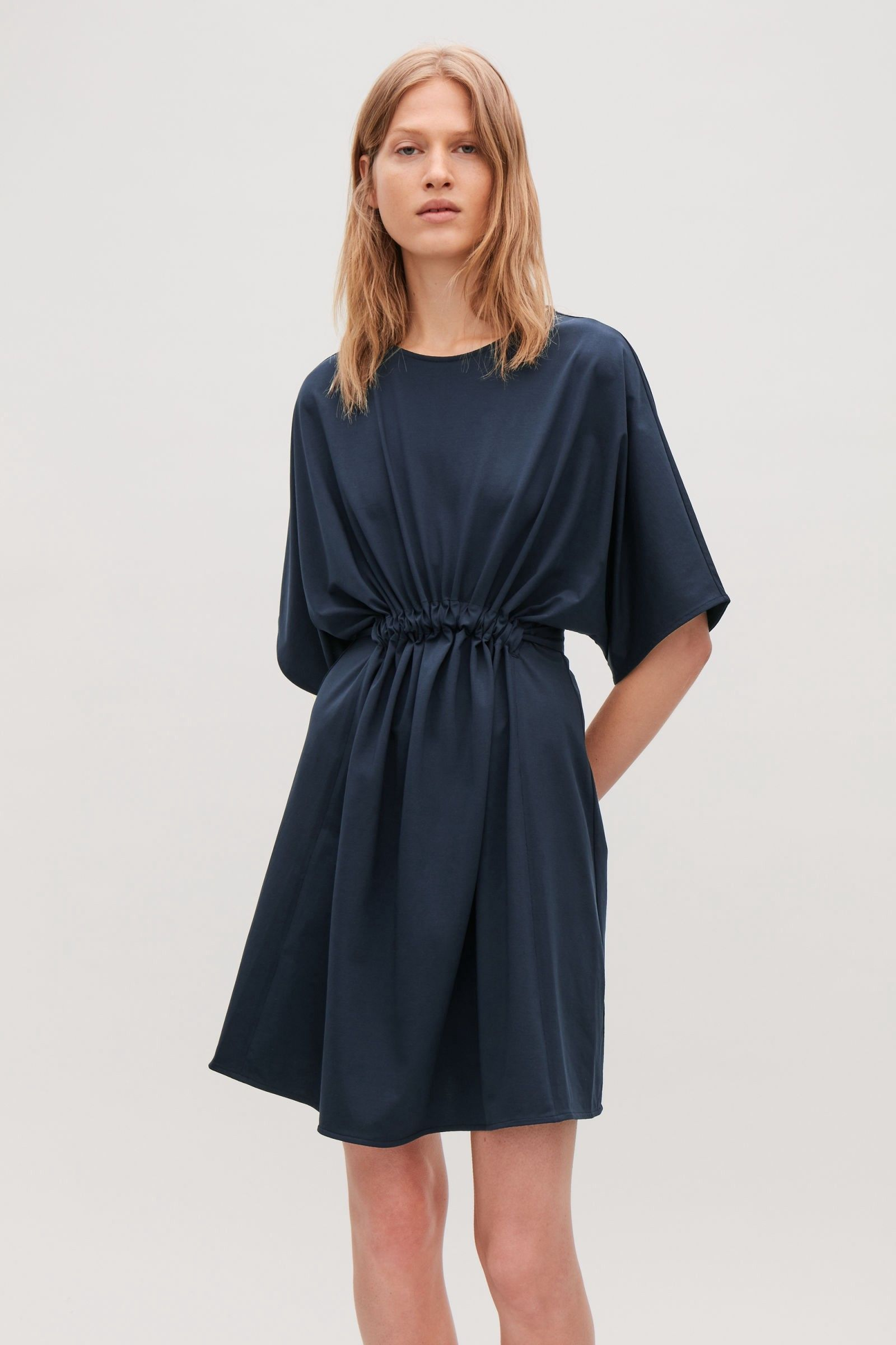 Cos green dress 2018  Cos Jersey Dress With Gathered Detail  Navy XS  Products
