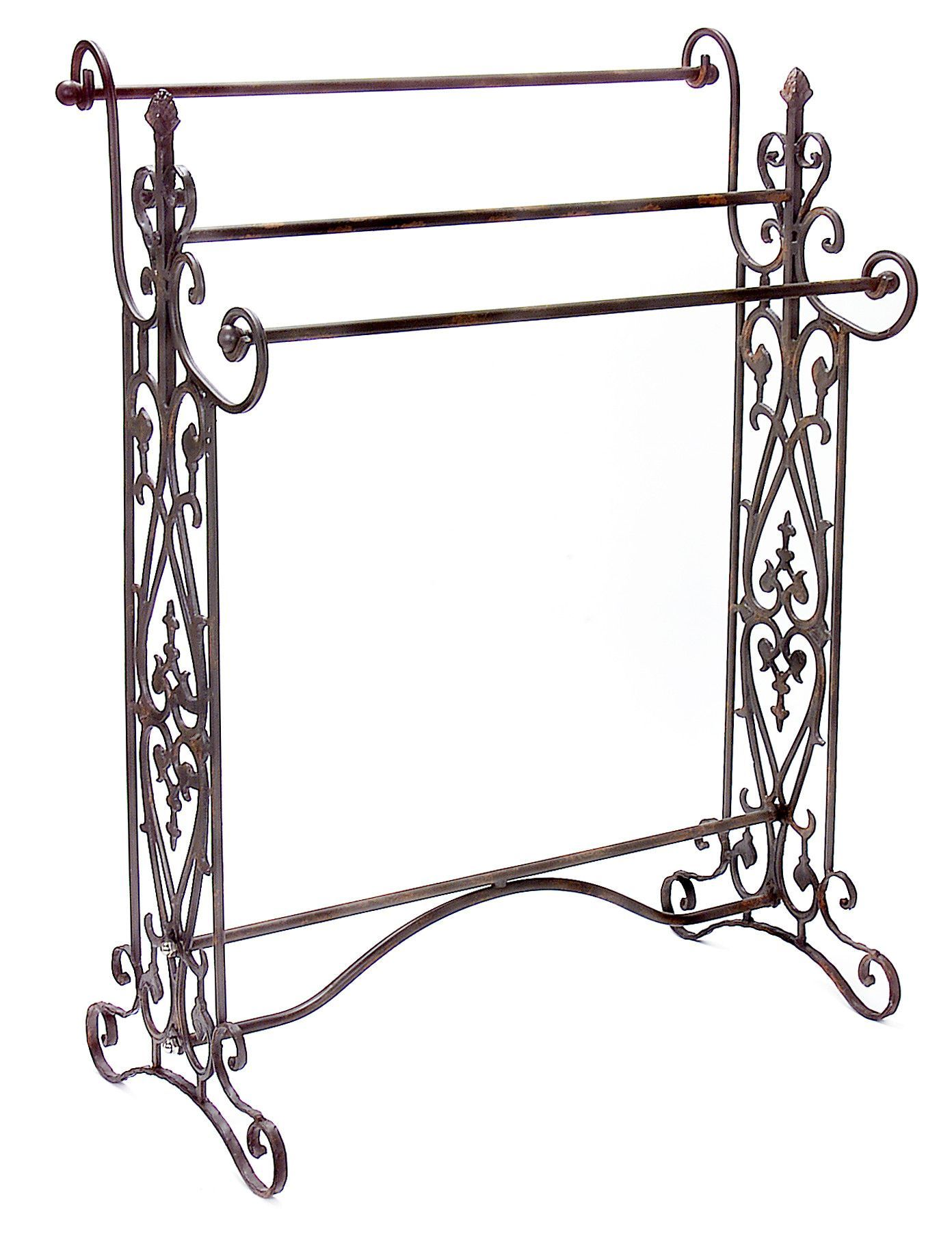 Traditional Wrought Iron Quilt Or Towel Rack In A Dark Finish