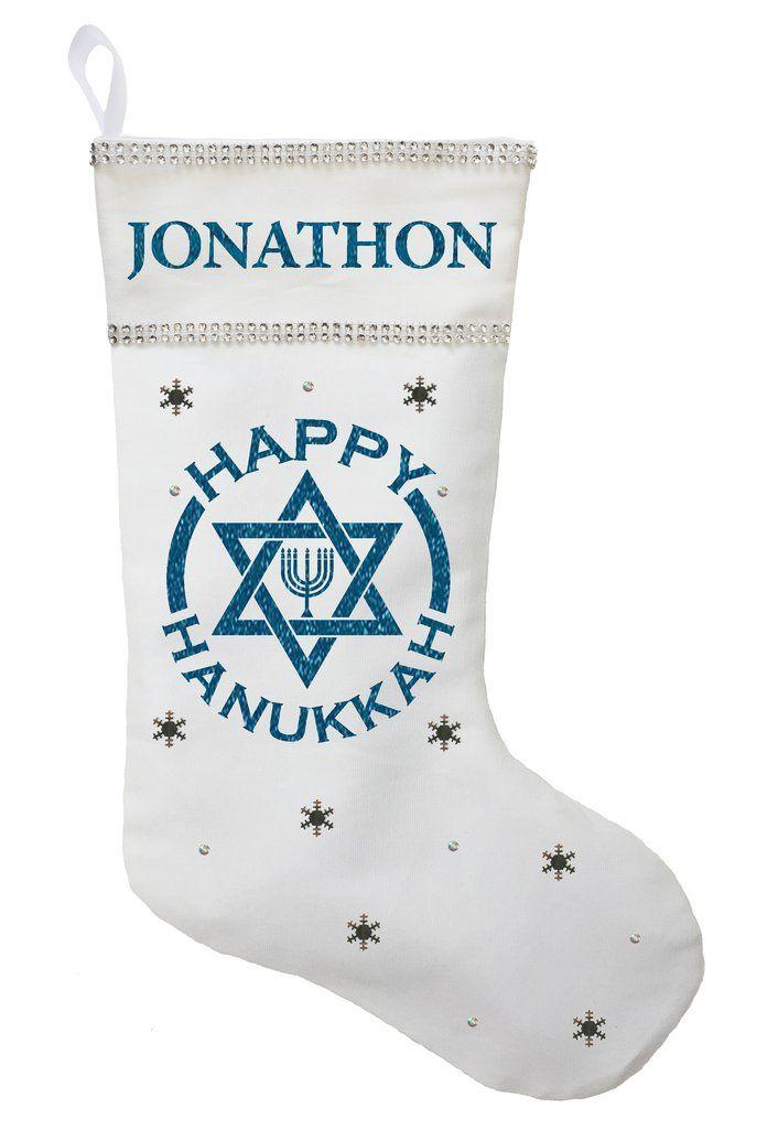 Hanukkah Christmas Stocking.Happy Hanukkah Stocking Personalized And Hand Made