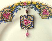 Broken china jewelry pendant necklace antique rose porcelain china Swarovski crystal drop