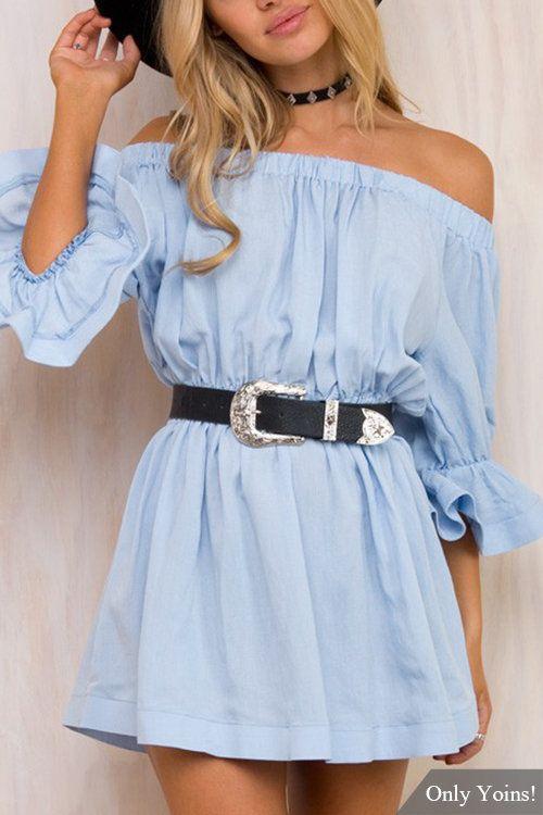 Blue off-shoulder dress · Baby Blue DressesWomen s ... 61e9ef57a