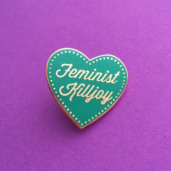 Feminist Killjoy Enamel Pin Badge - Turquoise and Rose Gold Heart