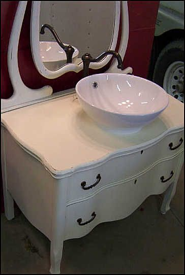 Vintage Dresser For Bathroom Vanity With Vessel Sink