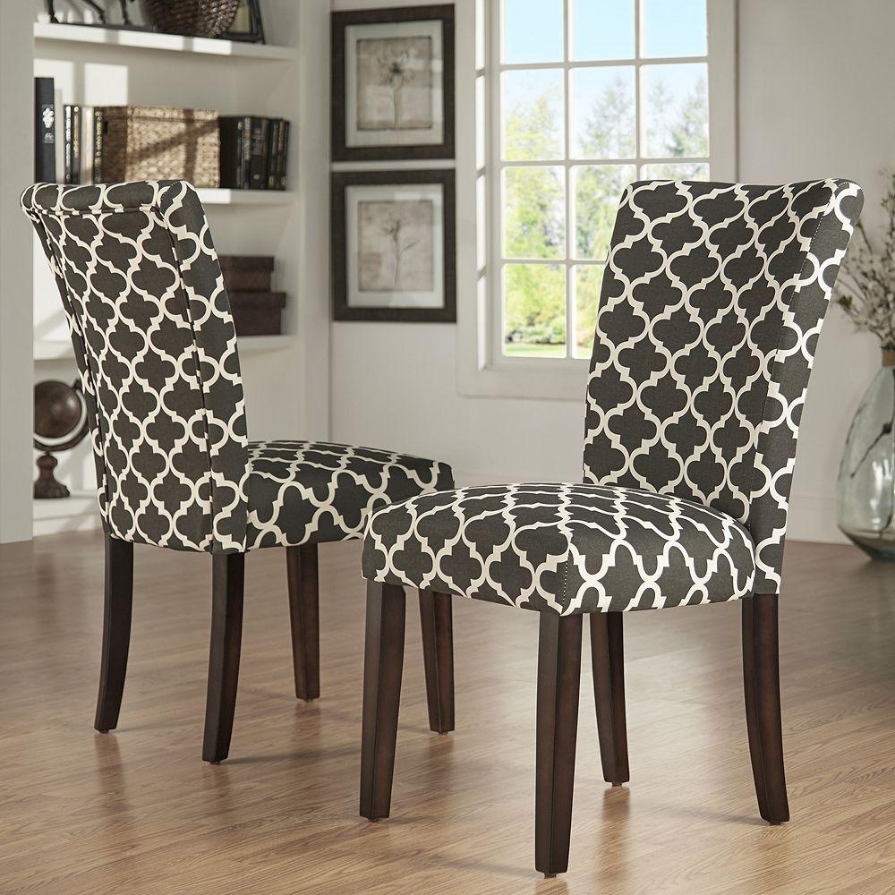 Homevance 2 Piece Salma Moroccan Trellis Side Dining Chair Set