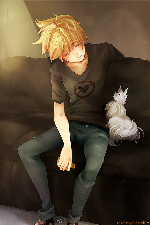 + Roxas and his cat named Riku + by takamaple on