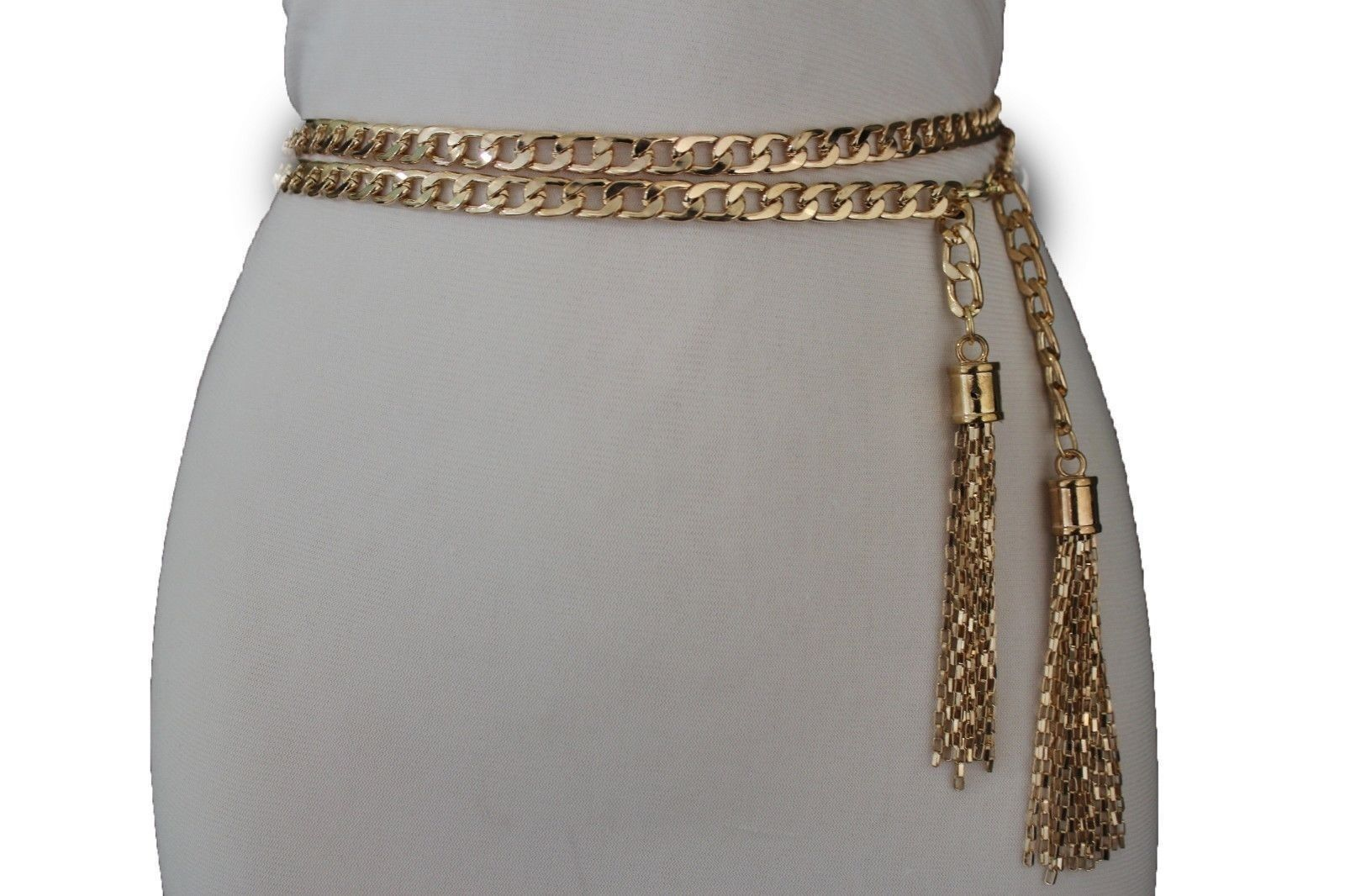 Women Silver Metal Chains Narrow Fashion Belt Long Double Leaves Buckle S M L XL