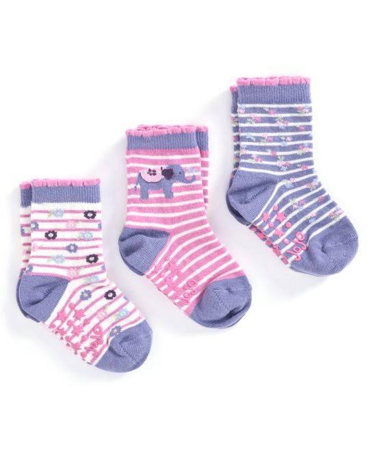Purple Pink Stripe Elephant Three Pair Socks Set Infant Pink