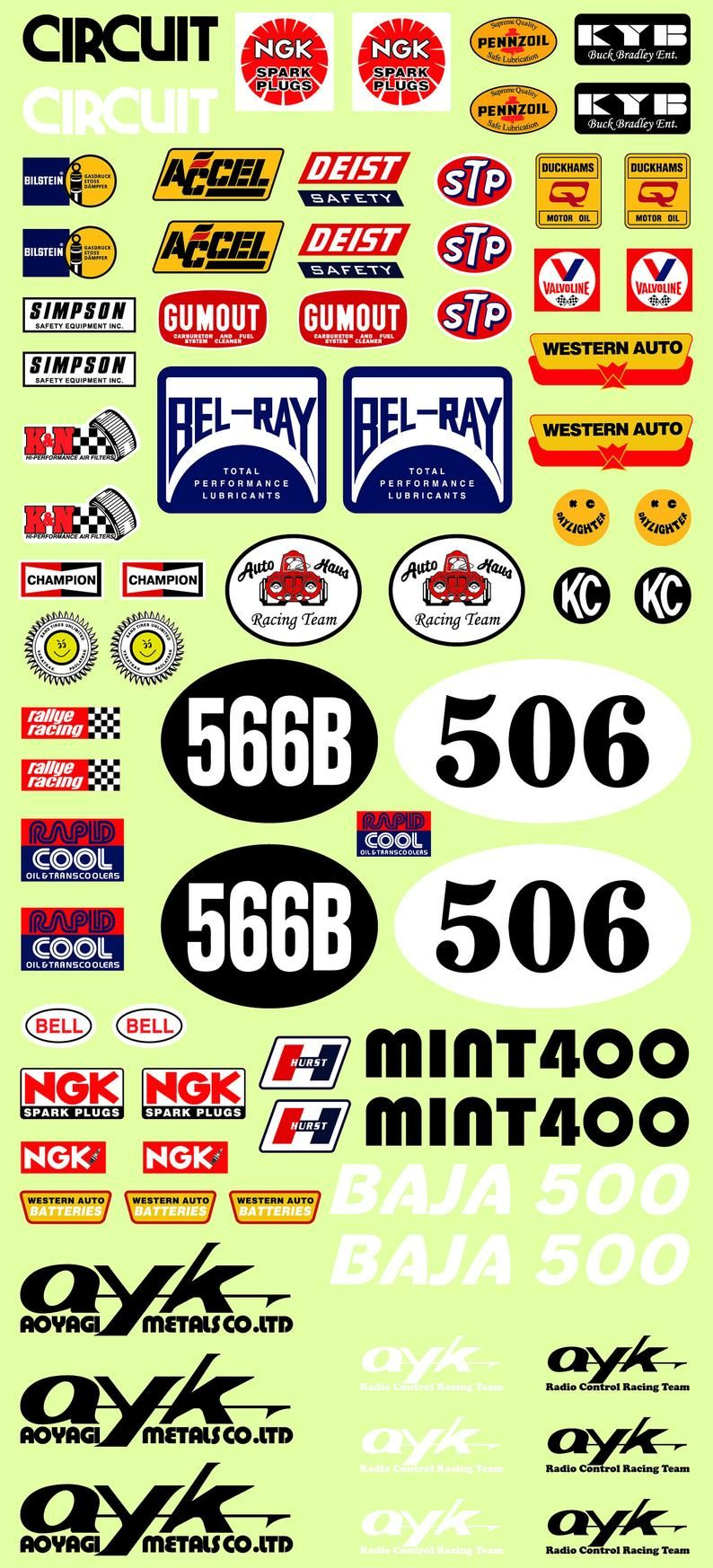 Ayk 566b super trail rc car vinyl sticker sheet 7x5inches etsy