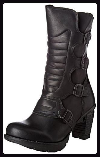 Schnallen Biker Boots Nieten Silber stylisch Stiefeletten Schwarz stylisch Punk