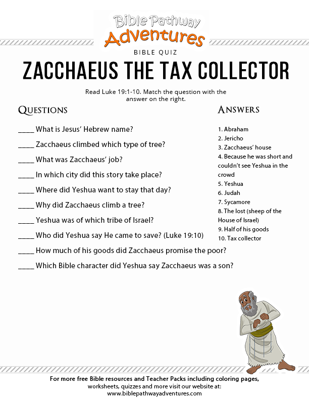 Zacchaeus The Tax Collector Bible Quiz For Kids Free Download Zacchaeus Bible Quiz Bible Lessons