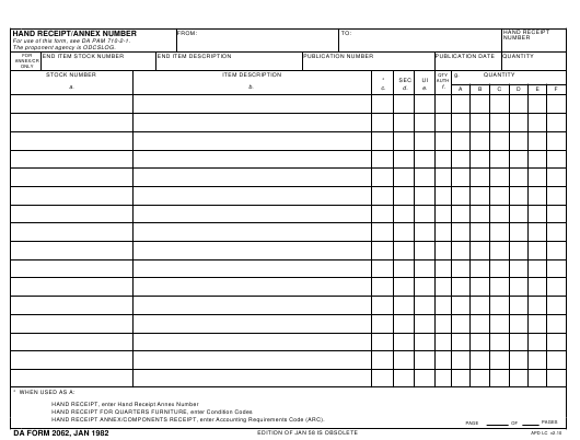 da form 2062 hand receipt/annex number download pdf | us da and dd