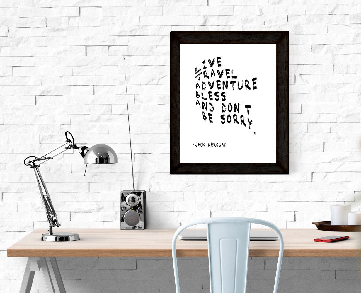 Jack Kerouac Quote Printable Poster   Travel Quote  Printable, Instant  Download, Wall Art