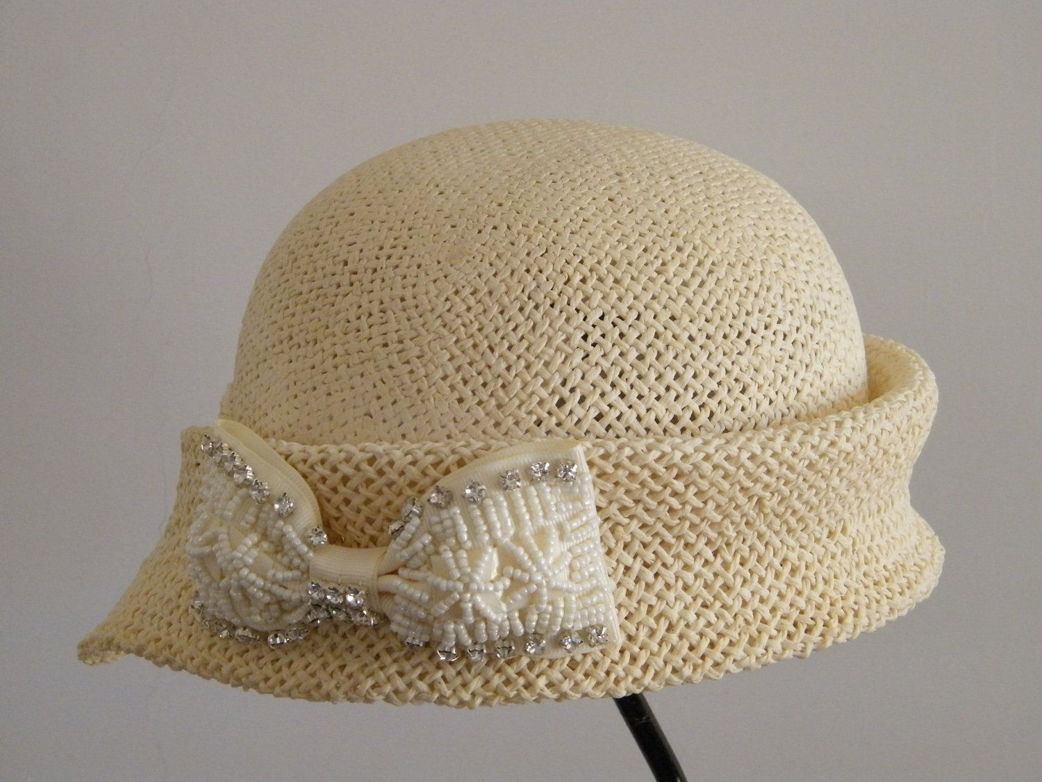 Women s 20 s style hat for women - Dressy off white straw - hat for small  head.  65.00 fa74cf8a66a