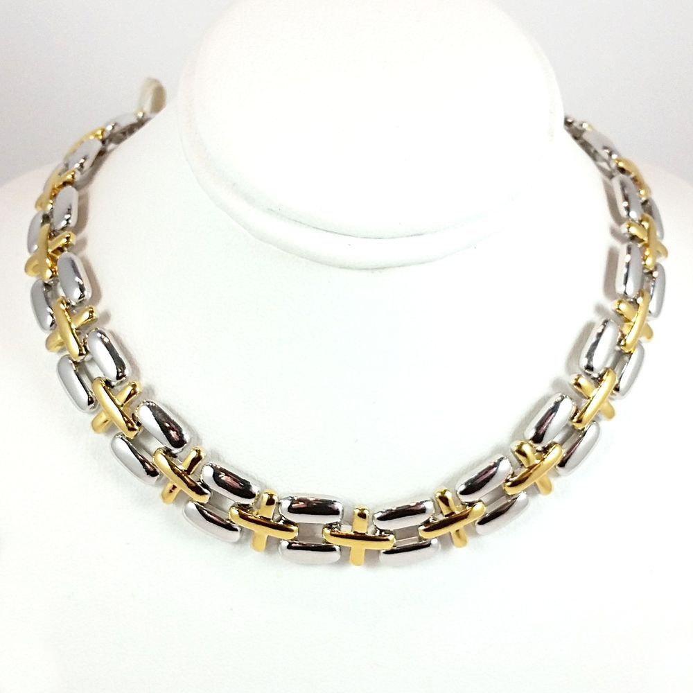 "Two Tone Pantera Necklace 24k Yellow Gold Silver Plated 16"" Chain n12t #RomeoJuliet #Chain"