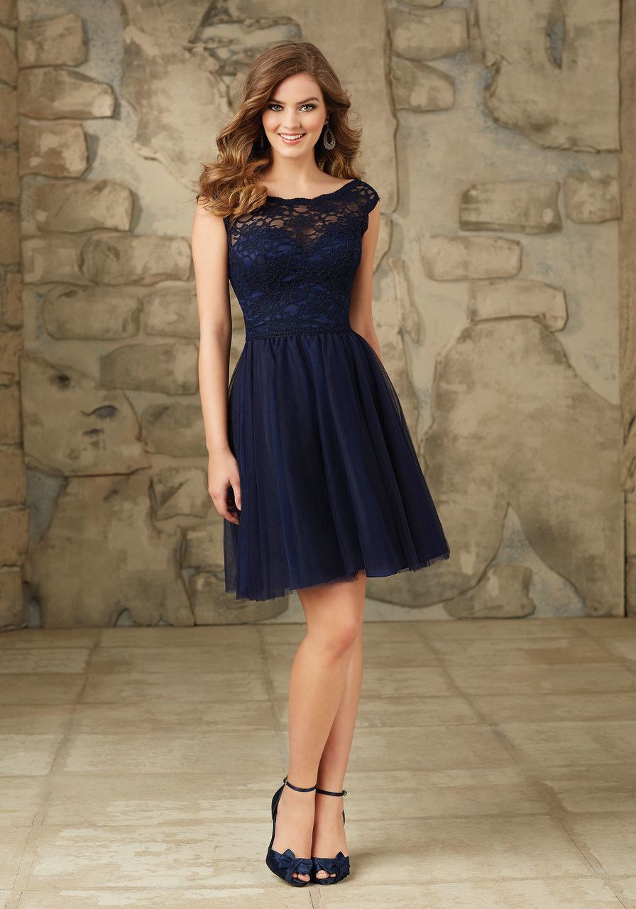 lace and tulle short bridesmaids dress with cap sleeves in