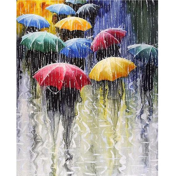 Rainy Day Colorful Umbrella Image 3d Diy Diamond Embroidery Mosaic Wall Decor Full Diamond Painting Umbrella Painting Rain Painting Umbrella Art
