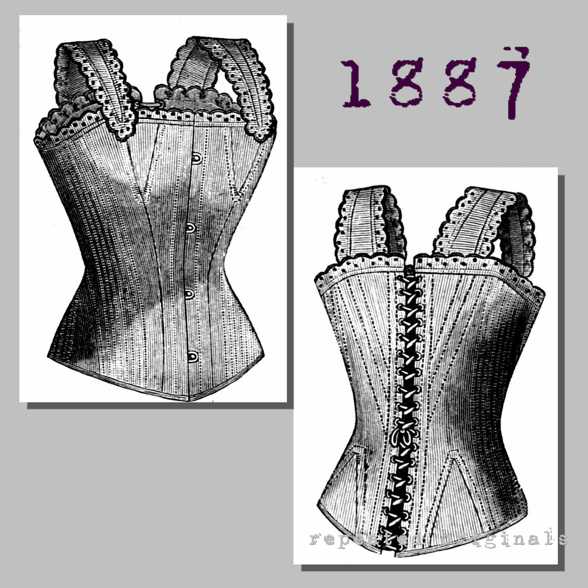 Corded and Boned Corset for girls aged 12-14 years - Waist 54cm - 1880's - Victorian Reproduction PDF Pattern - made from an 1887 pattern