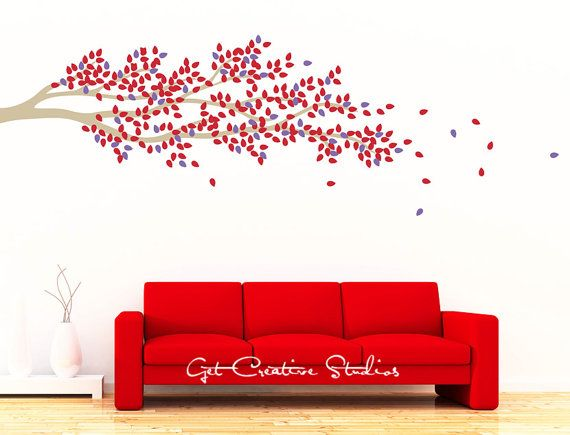 Branch Tree Leaves Decal Red Purple Latte By Getcreativestudios 68 00 Wall Decal Branches Tree Wall Decal Baby Room Decals