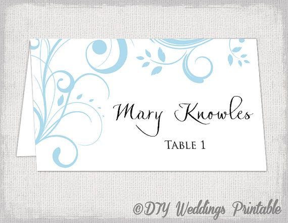 Printable Place Card Template Capri Blue Scroll Name Cards DIY - Wedding place card templates free download
