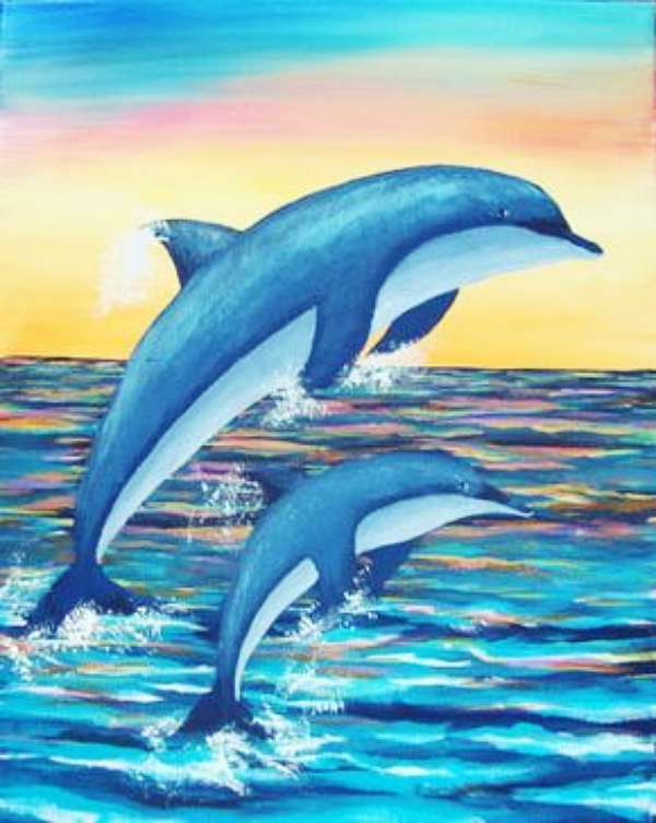 """Sunset Oil Paintings 16X20/"""" DIY Paint By Number Kit On Canvas Jumping Dolphins"""