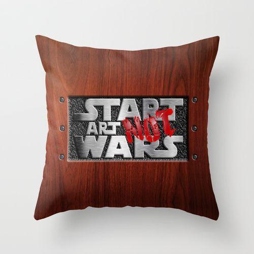 "Start Art Not Wars cushion Pillow Case 20"" $18.89 #Pillow #PillowCase #PillowCover #CostumPillow #Cushion #CushionCase #PersonalizedPillow #SocietySix #StartArtNotWars #art #Steampunk #StartArtWars #steelplateandood #Typograph #wood"