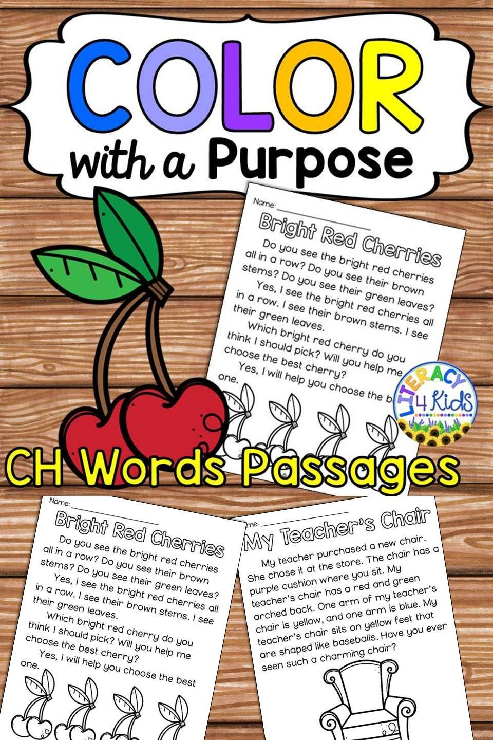Color With A Purpose Reading Passages CH Words